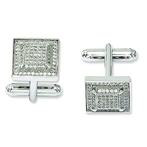 Sterling Silver and CZ Brilliant Embers Cufflinks
