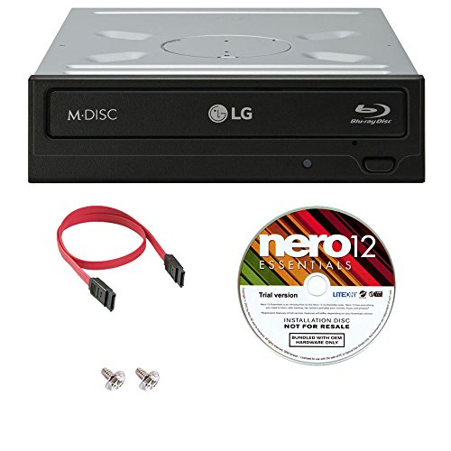 LG WH14NS40 14X Internal Blu-ray M-DISC Burner BD BDXL MD CD DVD Drive 3D Playback + Nero 9 Essential Software + SATA Cable + IDE to SATA Power Adapter