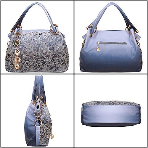 EGOGO Damen Handtasche Leder Henkeltasche Hollow Tote Tasche Für Fraun Schultertasche E522-1 Blau