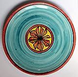 Piatto geometrico-Piatto di ceramica decorato a mano dimensioni cm 25,5, alto cm 3,pronto per essere appeso alla parete-Made in Italy,toscana,Lucca.Creato da Davide Pacini.