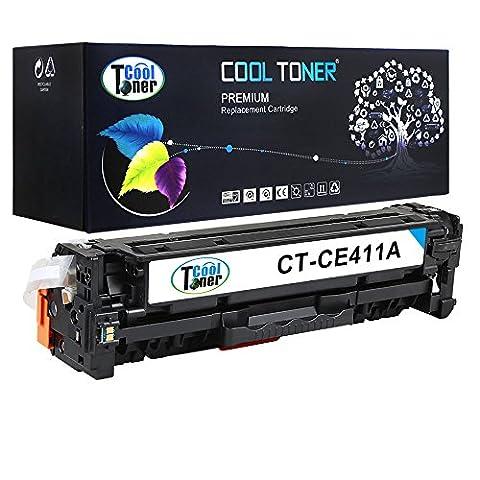 Cool Toner Cartouche Compatible de Toner pour CE411A pour HP LaserJet Pro 300 Color M351a MFP M375nw, HP LaserJet Pro 400 Color M451 series MFP M475 series, 2600 feuilles