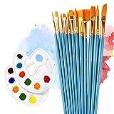12 Künstlerpinsel , 2 Mischpalette, Wasserfarben Pinsel Set, Nylon Pinsel für Aquarell, Acryl & Ölgemälde usw, Pinsel Mit Palette Malerei / Paint Tray Palette Perfektes Pinsel Set für Anfänger, Kinder