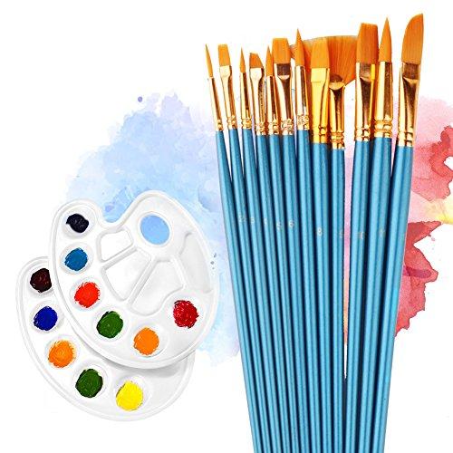 12 Künstlerpinsel , 2 Mischpalette, Wasserfarben Pinsel Set, Nylon Pinsel für Aquarell, Acryl & Ölgemälde usw, Pinsel Mit Palette Malerei / Paint Tray Palette Perfektes Pinsel Set für Anfänger, Kinder (Acryl-gouache-malen)
