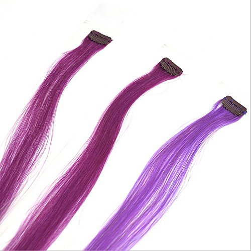 Meylee Postiches Extensions de cheveux humains violet avec Clip 3 pièces prix