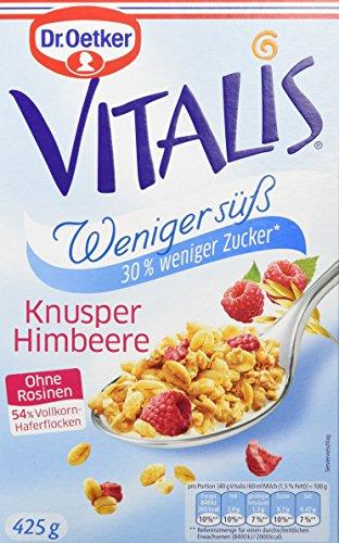 Dr. Oetker Vitalis Weniger süß Knusper Himbeere, 7er Pack (7 x 425 g) (Herrliche Haferflocken)