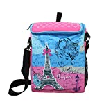 Shopaholic Boy's and Girl's Fabric Attractive Paris Printed Box Shaped 2-in-1 Bag (Multicolour)