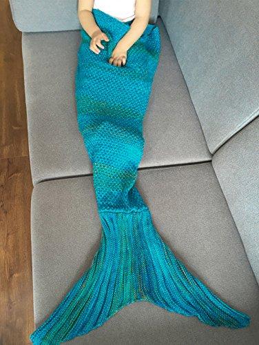 YiZYiF Meerjungfrau Decke, Handgemachte Schwanz-flosse Strickdecke Sofa Kuscheldecken Blanket Schlafsack, als Geburtstagsgeschenk für Erwachsene, Baby und Kinder
