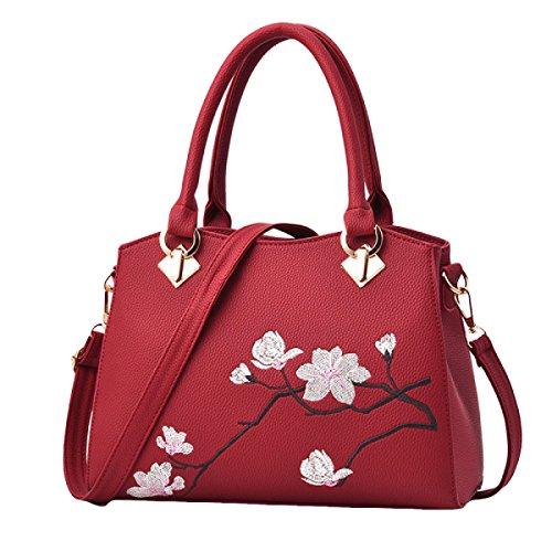 Mode Druck Blumen Schultertasche Messenger Tasche Handtasche Handtaschen Freizeit Wild Red1