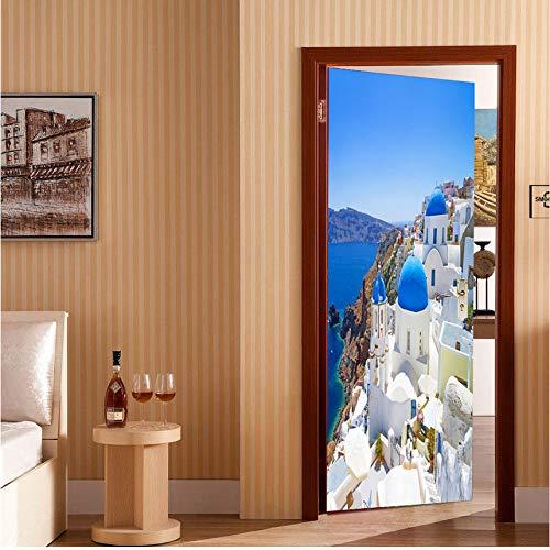 Innentüren 2 Panels White Houses By Side Sea Wandkunst Bild Wandbild Wandaufkleber Tür Aufkleber Tapete Aufkleber Home Decoration