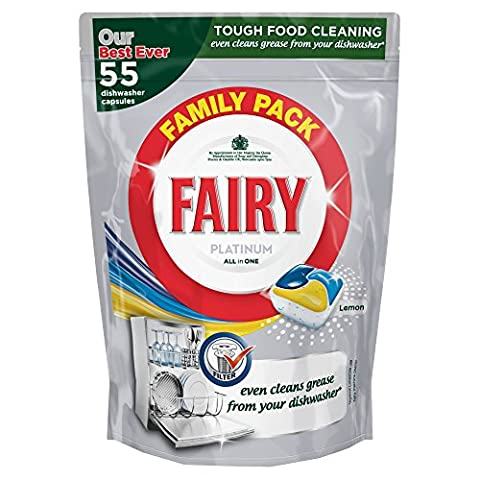 Fairy Platinum All in One Lemon Dishwasher 55 Tablets - Pack of 4