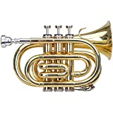 Classic Cantabile Brass TT 400B Trompette de poche (laiton, Pavillon diamètre: 93mm, alésage: 11,8mm, Humeur: B, gants Étui léger, embouchure, chiffon inclus) clair laqué