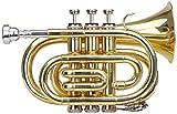 Classic Cantabile 00037725 TT-400 - Trompeta de bolsillo en Si, latón, anchura de la campana de 93 mm, incluye bolsa de transporte, boquilla, gamuza limpiadora y guantes, color negro