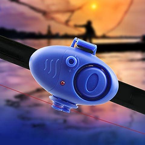 rybyte (TM) UK Nuovo plastica clip elettronico Canna da pesca Luce LED Pesca morso allarme Finder Wireless Audio cicalino di allarme per esterni strumento
