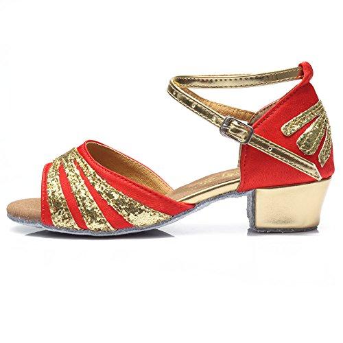 cetim Sapatos Menina Vermelho Latino Hroyl Dança Salão ds De De Sapatos Modelo 209 Dança De It88Ap