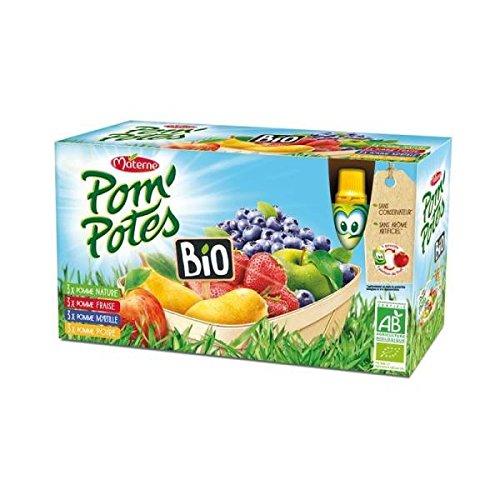 Pom'potes bio multivarietes (pomme/p. poire/p. fraise/p. /myrtille)12x90g - ( Prix Unitaire ) - Envoi Rapide Et Soignée