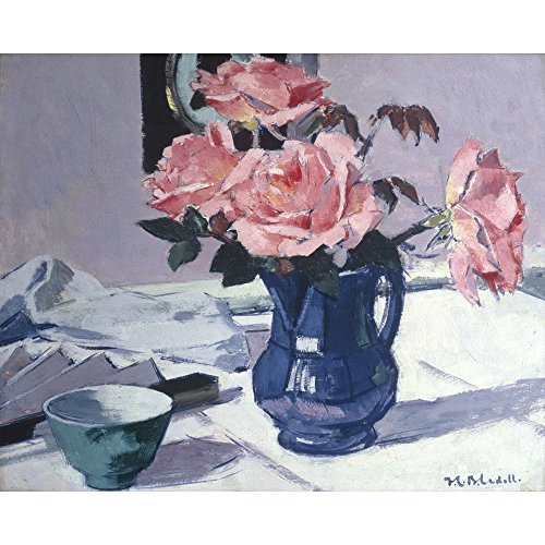 Still Life – Blue Jug and Pinks Roses, Francis Campbell Boileau Cadell - Medici Impression