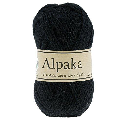 maDDma ® Strickgarn 100% Alpaka 50g Wolle Alpakawolle Handstrickgarn Stricken Winter Sommer, Farbe:schwarz (Winter Stricken)