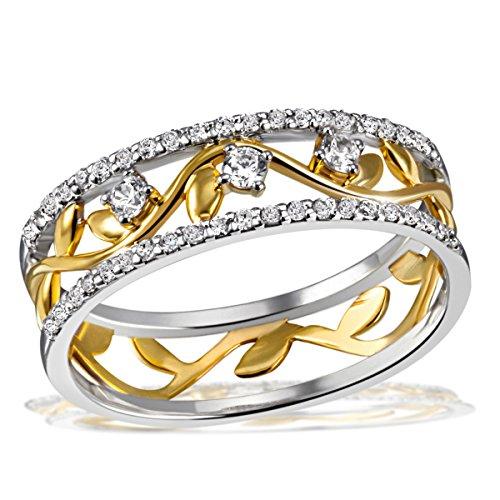 Goldmaid Damen-Ring Bay Leaves gelb vergoldet 925 Silber teilvergoldet Zirkonia weiß Rundschliff Gr. 54 (17.2) - Fo R7641S54 Schmuck