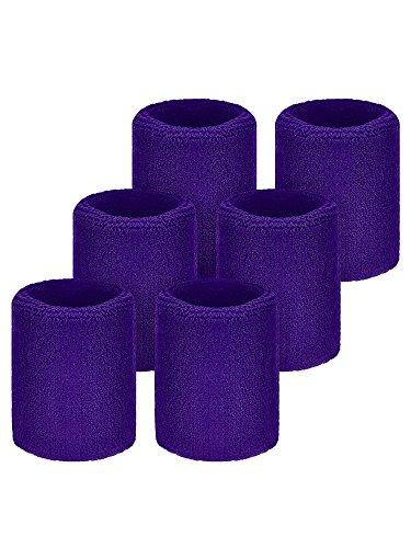 Willbond 6 Packung Sport Wristbands Absorbierende Schweißbänder für Fußball Basketball, Leichtathletik (Violett)