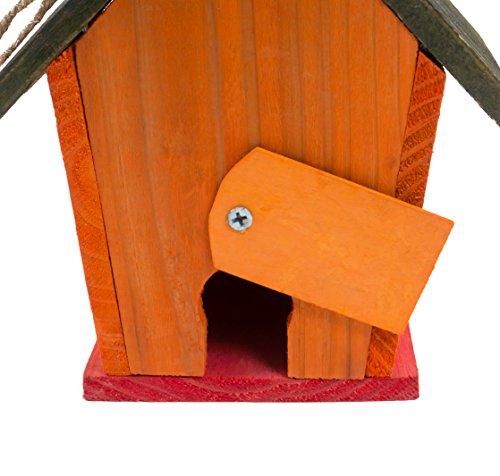 Vogel-Nisthöhle bunt aus Holz 16x14x18 cm - 2