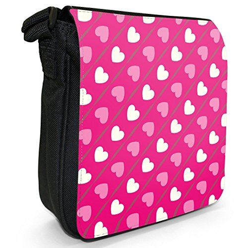 Fancy A Snuggle, Borsa a spalla donna S Diagonal Pink & White Hearts