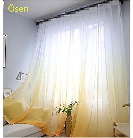 SearchI 1 Stück Rideaux Voilages Solide à Pattes pour Cuisine Rideau de Fenêtre Salon Chambre Rideaux (140B×245H cm, Blanc+Jaune)