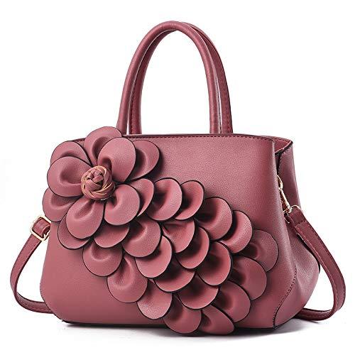 FANGDADAN Damen Umhängetaschen,Mode Große Kapazität Handtasche Frauen Blumen Schultertasche Damen Messenger Bags Kausale Crossbody-Tasche Ms Aktenkoffer, Rosa (Rosa Aktenkoffer)