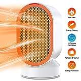 Termoventilatore ceramico, termoventilatore elettrico 600W con protezione da surriscaldamento e ribaltamento, riscaldamento rapido e oscillazione a 45 gradi con modalità vento caldo/naturale