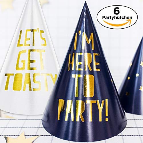 s Get Toasty & I'm Here to Party - Glänzende Partyhüte in Blau & Weiss mit Goldenem Druck - Geburtstag Silvester JGA Hochzeit Feier ()