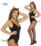 Guirca 3 Teiliges Tigerset Orange Schwarz Katzen Set für Damen Karneval Fasching Party Tiger