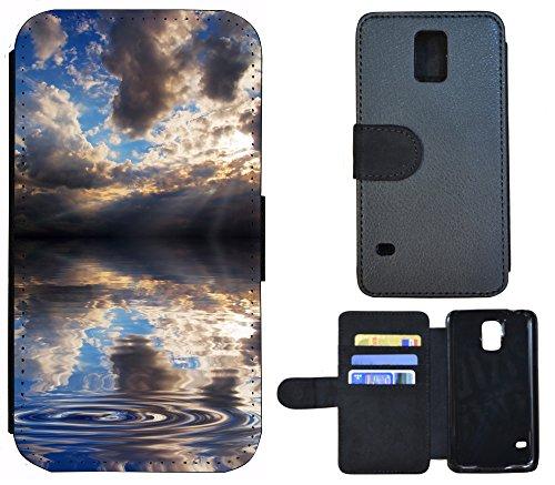 Schutz Hülle Flip Cover Handy Tasche Etui Case für (Apple iPhone 6 / 6s, 1219 See Wolken Gewitter Grau Blau) 1219 See Wolken Gewitter Grau Blau