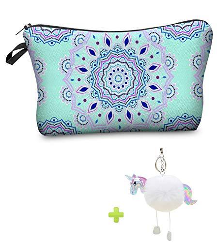Bolsas de Maquillaje Mujeres de Mandala, viaje impermeable compone el regalo de la caja de lápiz de la bolsa para la escuela de las muchachas con llavero del unicornio (azul)