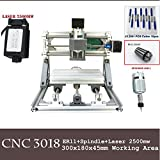 PW Mini Diy CNC3018 +2500 mw Laser GRBL control, With ER11 Chuck 3 Axis pcb pvb Milling machine, Wood Router Engraver CNC 3018