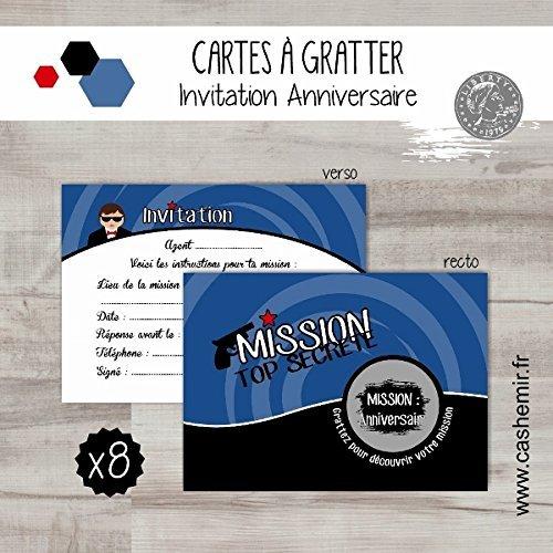 cartes-a-gratter-invitation-anniversaire-enfant-garcon-par-lot-de-8-agent-secret-ref59