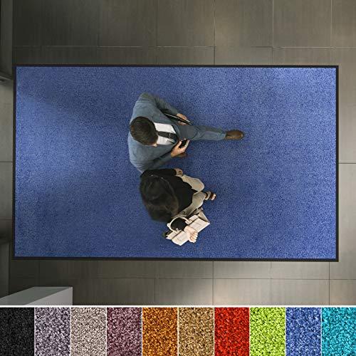 etm Hochwertige Fußmatte | schadstoffgeprüft | bewährte Eingangsmatte in Gewerbe & Haushalt | Schmutzfangmatte mit Top-Reinigungswirkung | Sauberlaufmatte waschbar & rutschfest (40x60 cm, Blau)