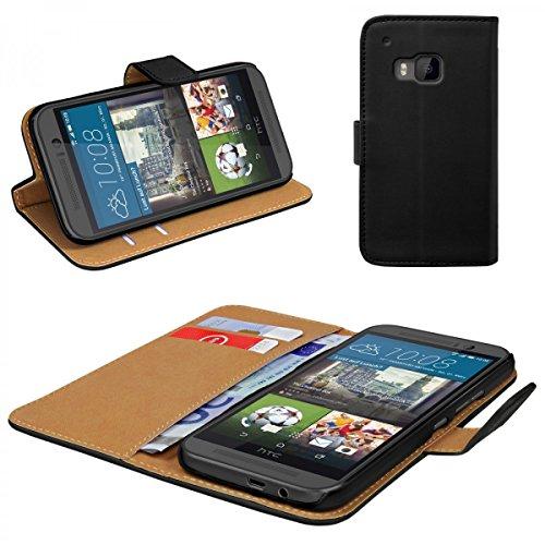 eFabrik Hülle für HTC One M9 Tasche / M9 Prime Camera Edition Schutz Case Cover Handyhülle Schutztasche Schutzhülle Kunstledertasche Wallet Etui schwarz