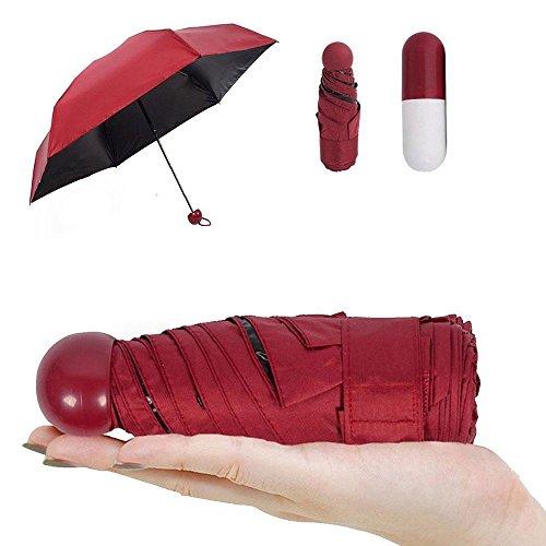 Pawaca Ultra Leicht und Klein Anti-UV Mini Reise Regenschirm mit Kreativ Niedlich Kapsel Fall, 5 Faltbarer Kompakt Taschengröße Sonnenschirm Regenschirme für Frauen Mädchen Kinder (Fall Reise-geldbörse)