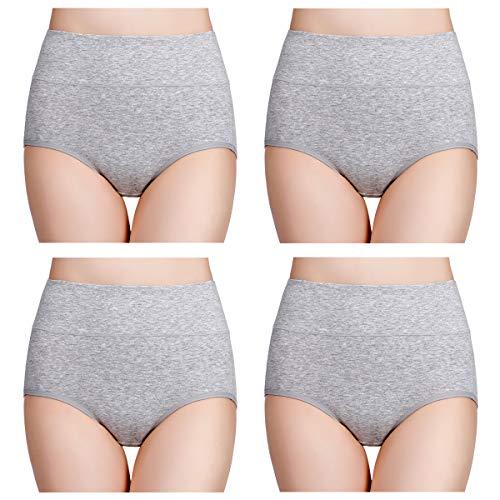 wirarpa Damen Unterhosen Baumwolle Slips Damen Hoher Taille Atmungsaktive Taillenslip Wochenbett Unterwäsche Mehrpack Größen 32-58, Grau, Large (42/44) -