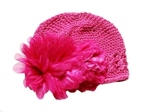 Baby Crochet Kufi Girl Crochet Beanie Knitted Cap Dark / Hot Pink Baby Hat