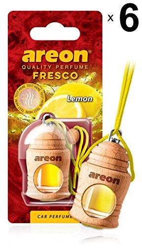 Areon Fresco Ambientador Limon Coche Casa Olor Cítrico Perfume Liquido Botella Mini Original Madera Colgar Colgante Amarillo Retrovisor Oficina 3D 4ml ( Lemon Pack de 6 )