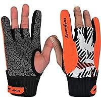 1par de guantes profesional para bolos, antideslizantes, con algunos dedos semidescubiertos, para tocar instrumentos o practicar deportes, mujer, color naranja, tamaño medium