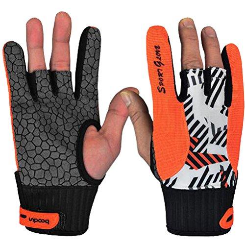 1Paar Profi Anti-Rutsch Handschuhe bequem Bowling-Zubehör semi-finger Instrumente Sports Handschuhe für Bowling M Orange