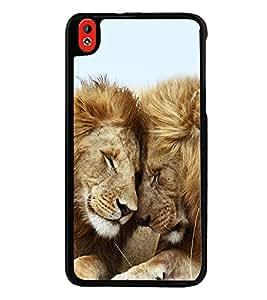 Printvisa Ultra Lion Pair 2D Hard Polycarbonate Designer Back Case Cover for HTC Desire 816 :...