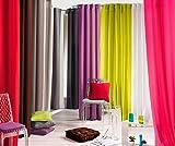 Douceur d'Intérieur - Punchy Rideau avec Oeillets - Uni - Polyester - Sable - 140 x 260 cm