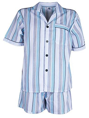 Herren Batist Pyjama gestreift von SOUNON® - Hellblau - Kurz, Groesse: 56