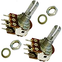 2x A5K ohm 5K ohm A502 Dual Stereo Logarithmic Log Moleteado Splined Shaft Rotary Potenciómetro Pot Shaft:20 mm