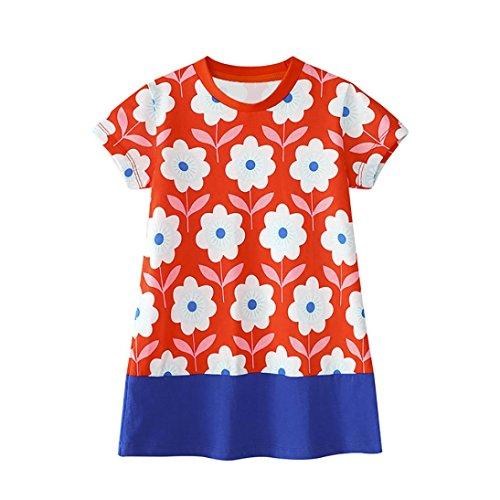 Amlaiworld Sommer Retro Bunt Blumen Druck Kleid Mädchen Baby Locker Sport t-Shirt Kleider Niedlich Kleinkind Oberteile Party Strand Dress,0-6 Jahre (6 Jahren, Rot)
