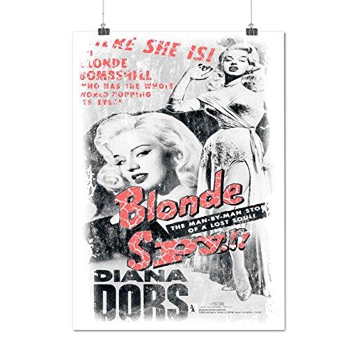 Kurze Perücke Freche Blonde (Blond Spion Mädchen Mode Bombe Spion Mattes/Glänzende Plakat A3 (42cm x 30cm) |)