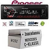 Mercedes C-Klasse W202 - Autoradio Radio Pioneer MVH-S100UI - | MP3 | USB | Android | iPhone Einbauzubehör - Einbauset