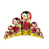 Heka Naturals Russian Matryoshka Nesting Dolls Hand Made Classic Red Top Babushka Doll Wooden Gift Toy (10 doll Set (26 cm))